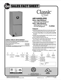 Rheem High Efficiency - X-13 Motor - Standard N Coil Sales Fact Sheet