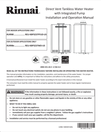 Rinnai RUR98i (REU-KBP3237FFUD-US) Operation and Installation Manual