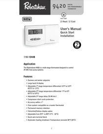 robertshaw 9420 user s manual online pdf free download 12 pages rh manualagent com Robertshaw 9600 Programmable Thermostat Manual Robertshaw 9420 Thermostat Problems