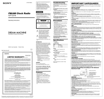 Sony DREAM MACHINE C218 User's Manual