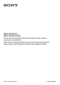 Sony NEX-C3K Update Manual