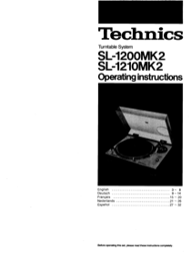 Technics SL-1200MK2 User's Manual