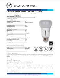 Westinghouse 11 Watt Omni-Directional Dimmable LED Light Bulb 0309400 Specification Sheet
