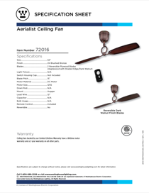 Westinghouse Aerialist 52-Inch Two-Blade Indoor DC Motor Ceiling Fan 7201600 Specification Sheet
