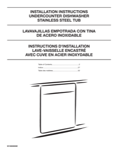 Whirlpool WDT750SAHV Installation Instructions