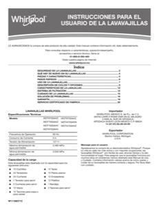 Whirlpool WDT750SAHV Owner's Manual
