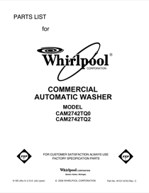 Whirlpool CAM2742TQ2 User's Manual