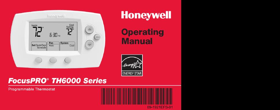 honeywell focuspro th6000 series operating manual free pdf rh manualagent com Honeywell TH6000 Target honeywell focuspro th6000 series operating manual
