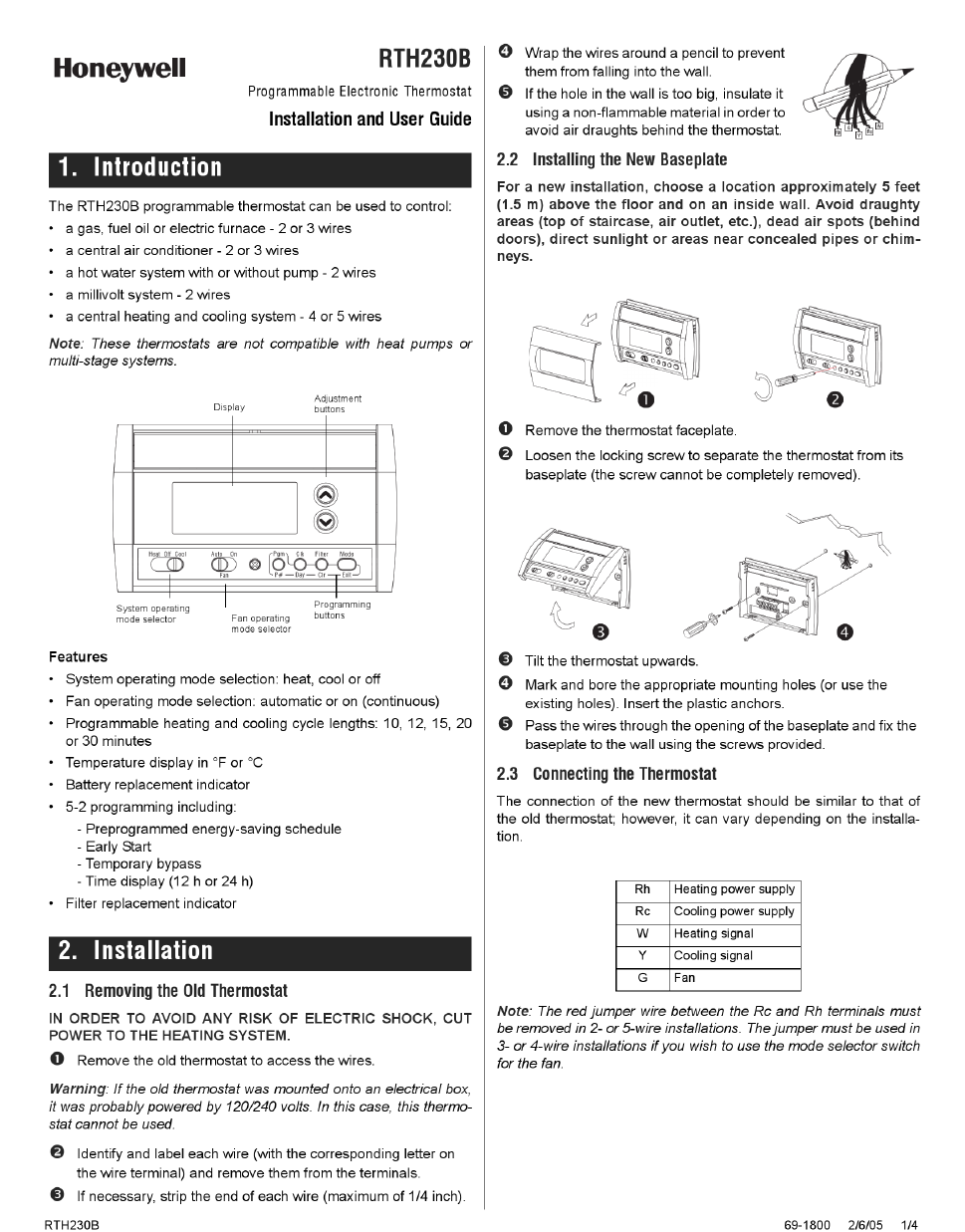 Honeywell Rth230b Manual Download Enthusiast Wiring Diagrams Heat Pump Thermostat Daily Instruction Installation And User Free Pdf Rh Manualagent Com Operating