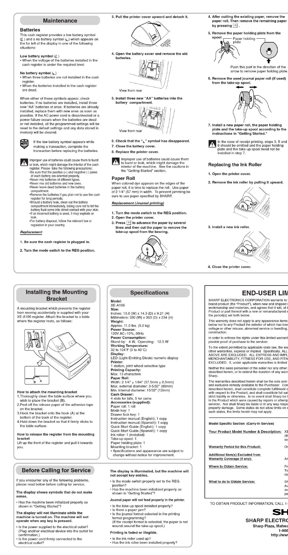 sharp xe a106 instruction manual free pdf download 2 pages rh manualagent com sharp xea106 manual sharp xe-a106 manual pdf