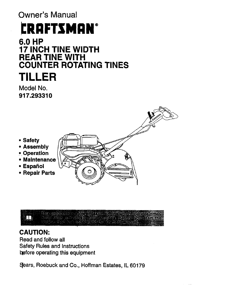 Craftsman 917 29331 Owner S Manual Free Pdf 36 Pages Rh Manualagent Com Roto Tiller Mod 293310 Sears Rototiller Owners