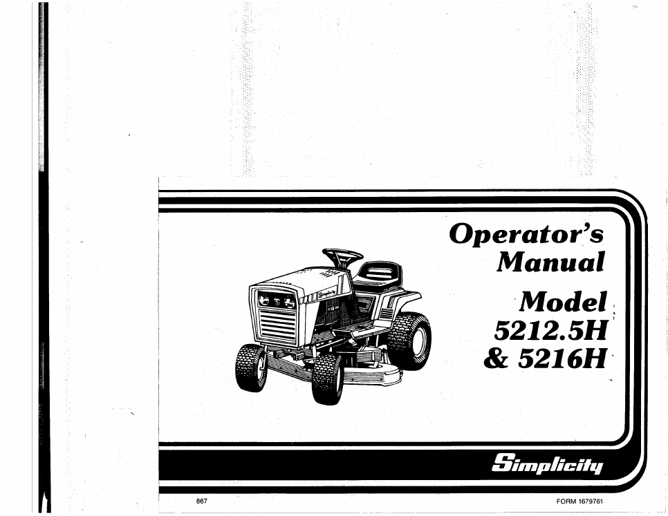 simplicity 5212 5h operator s manual free pdf download 44 pages rh manualagent com Simplicity Mower Repair Simplicity Mower Repair