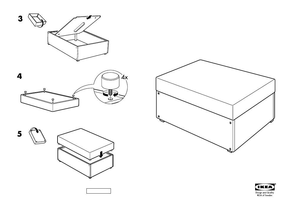 Ikea Ektorp Bromma Footstool Frame Assembly Instruction