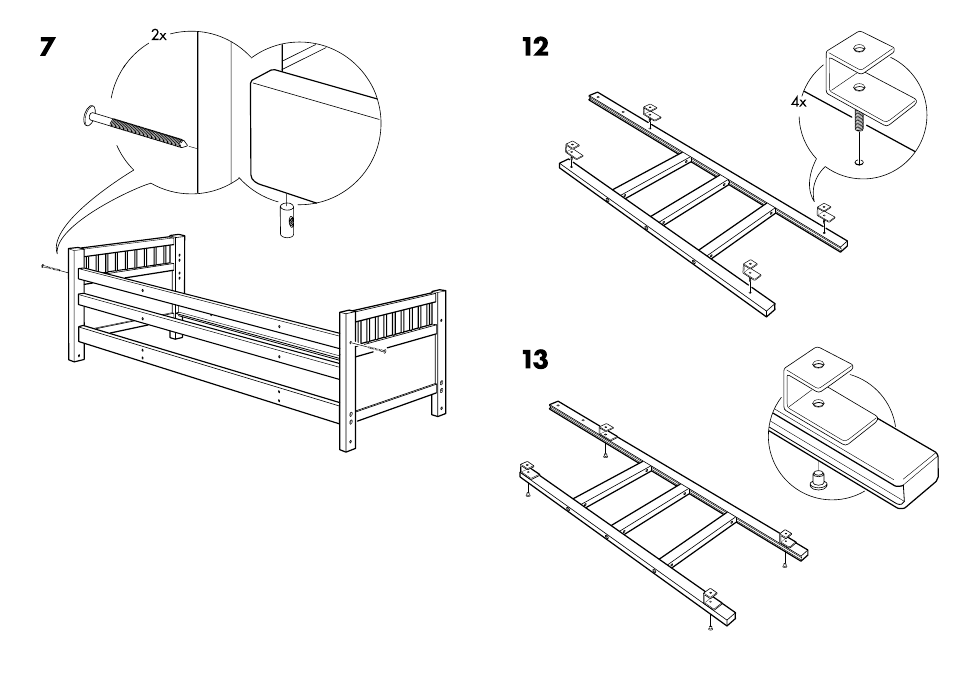 Ikea Hemnes Bunk Bedframe Twin Assembly Instruction Page