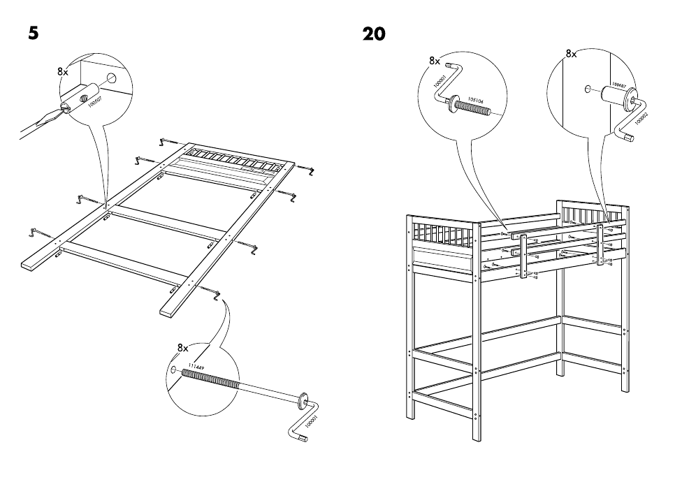 Ikea Hemnes Loft Bedframe Twin Assembly Instruction Page