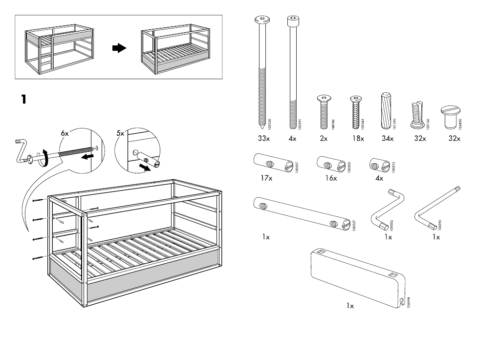 ikea kura reversible bed 38x75 assembly instruction page 3 free pdf download 14 pages. Black Bedroom Furniture Sets. Home Design Ideas