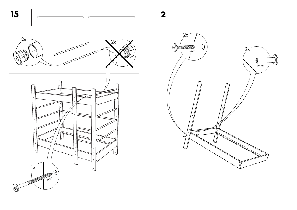 Ikea Lo Bunk Bed Frame Twin Assembly Instruction Page 9