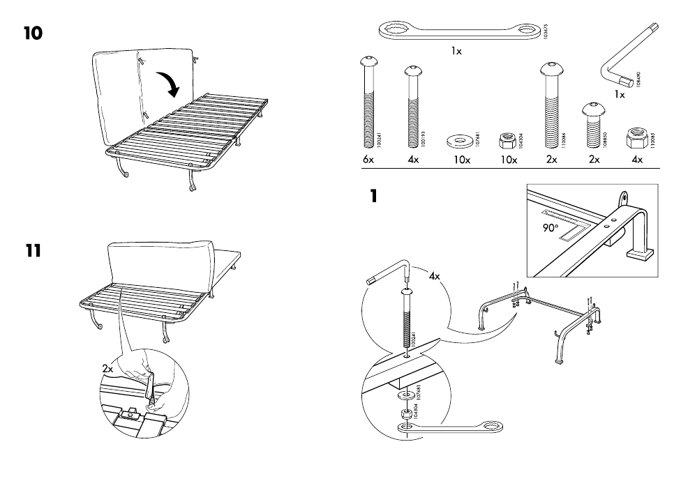 Ikea Lycksele Frame Chair Bed Assembly Instruction Page