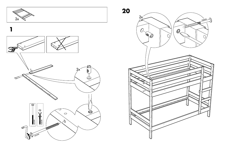 Ikea Mydal Bunk Bed Frame Twin Assembly Instruction Page