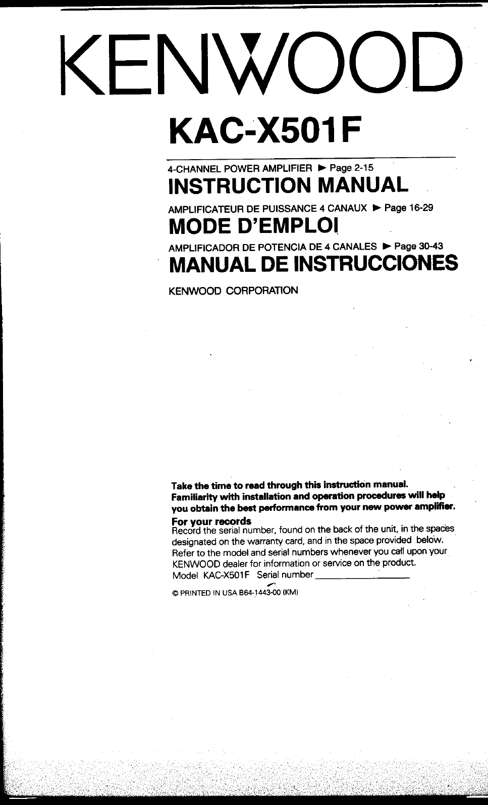 Kenwood Excelon Owners Manual Kdc X994 Wiring Diagram Kac Users Free Download Pages 967x1593