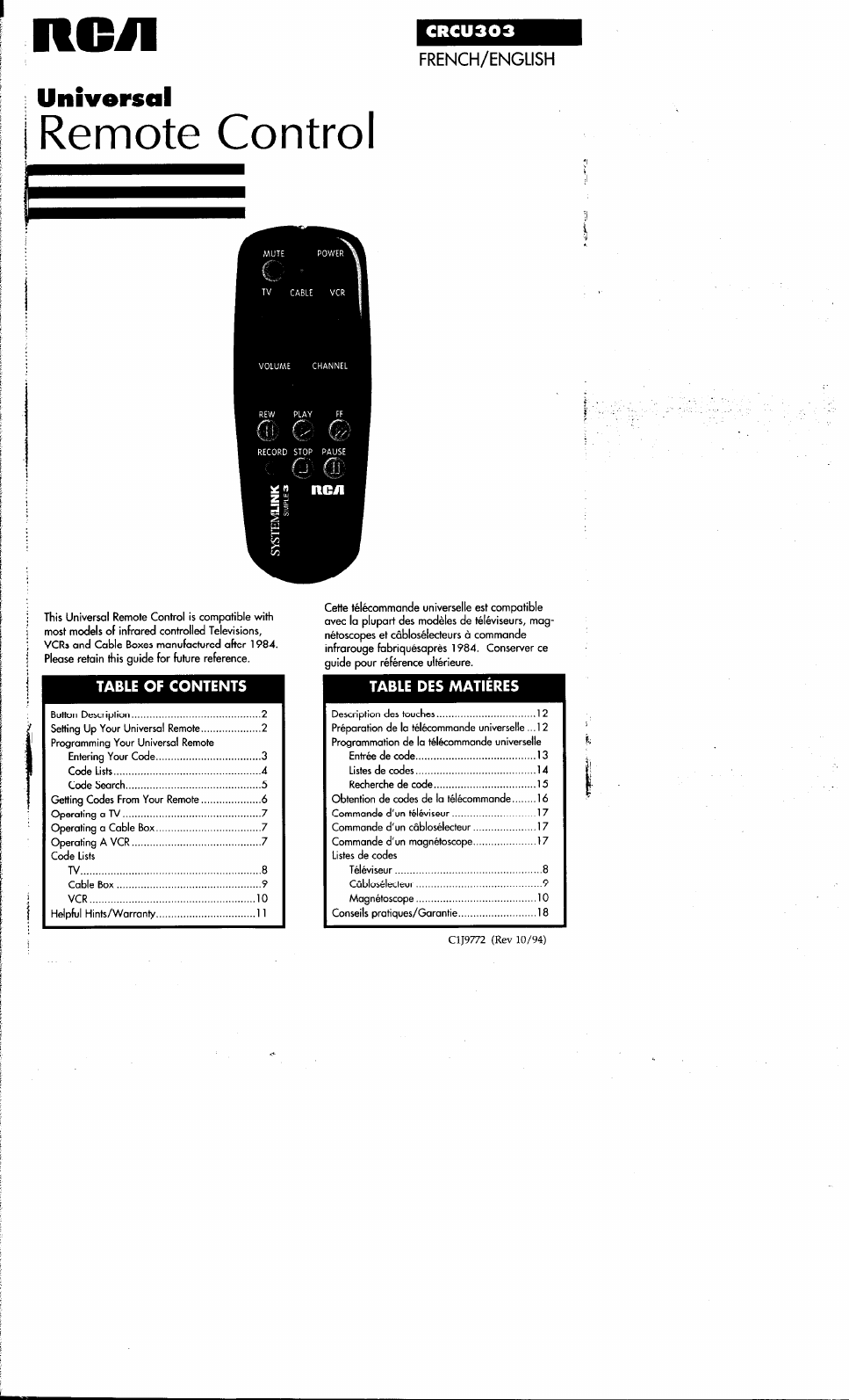 rca remote user manual