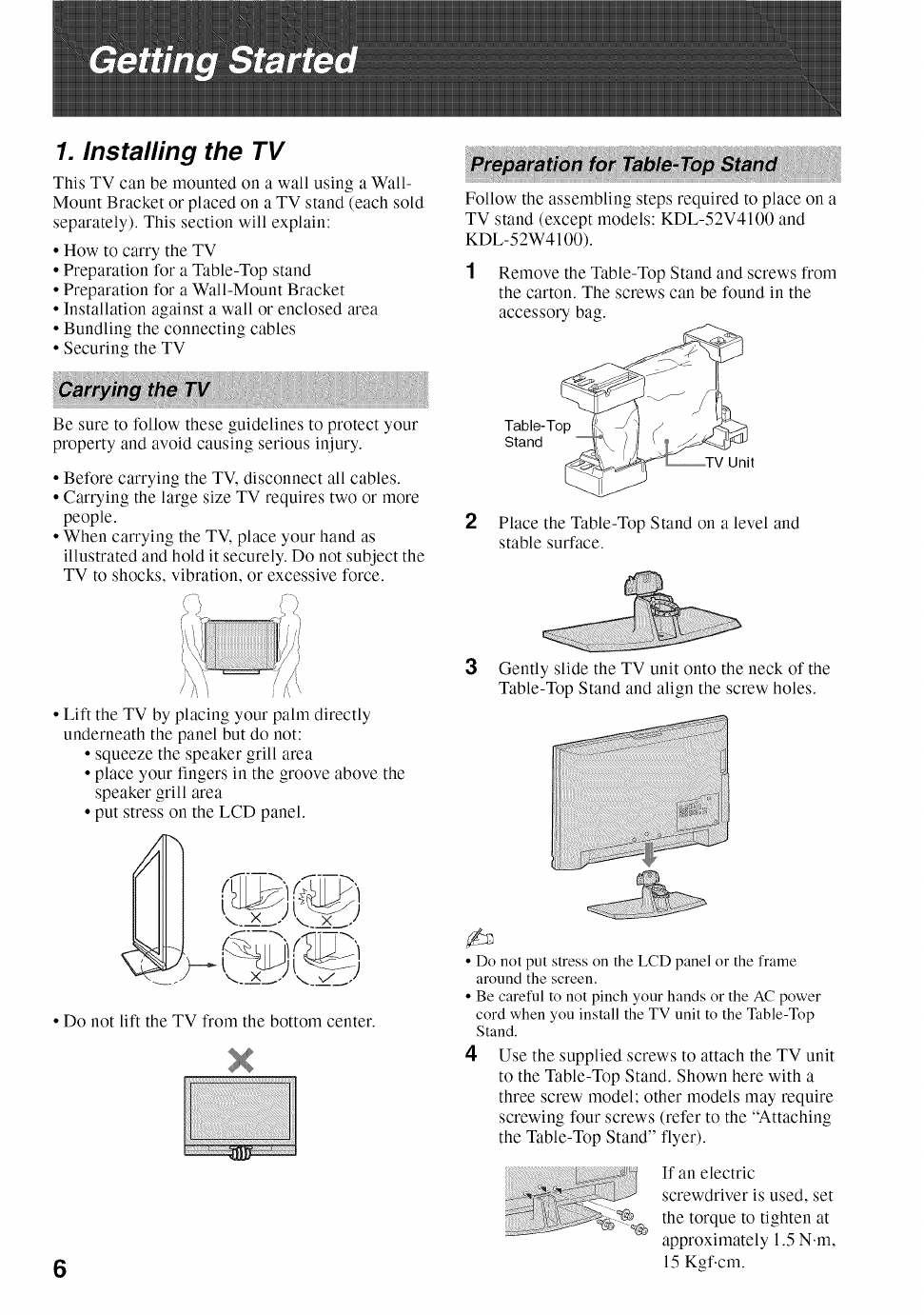 Sony BRAVIA KDL52V4100 User's Manual | Page 6 - Free PDF