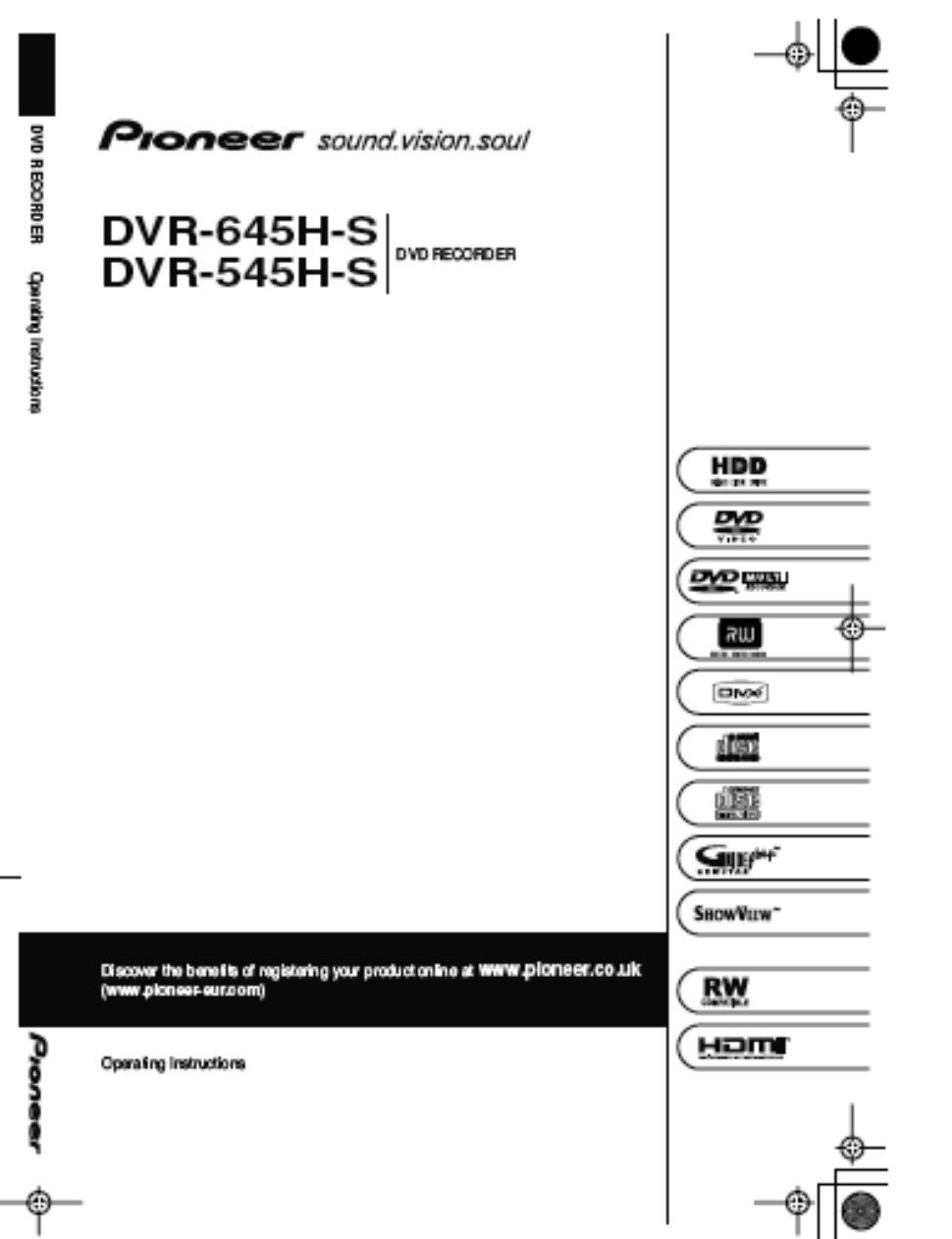 pioneer dvr 645h s user s manual free pdf download 163 pages rh manualagent com DVR 207 Dish ViP722 DVR Manual