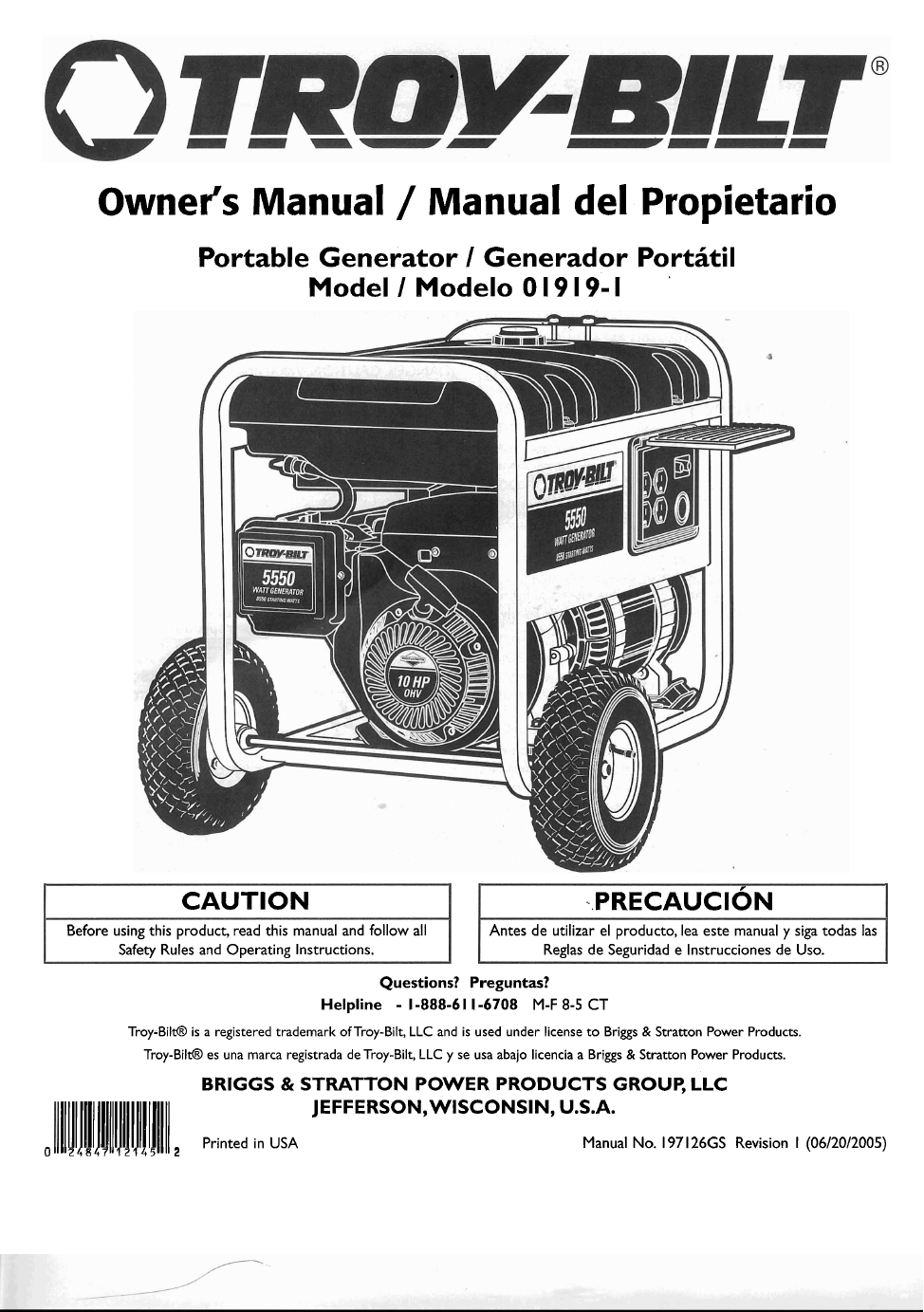 Portable Generator Manual One Word Quickstart Guide Book Wiring Diagram 10 Free Transfer Switch Troy Bilt 01919 1 User S Pdf Download 34 Pages Rh Manualagent Com
