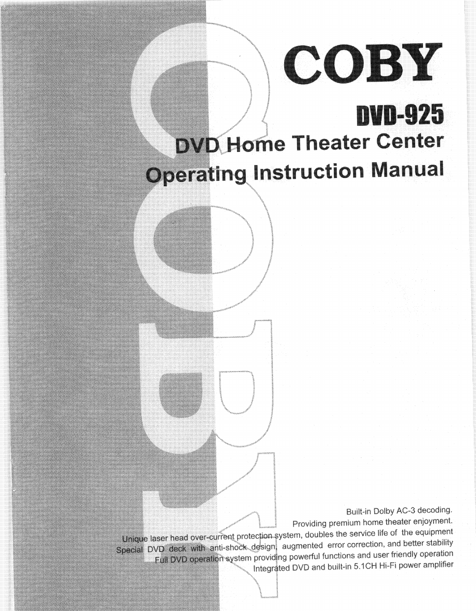 coby dvd 925 user s manual free pdf download 32 pages rh manualagent com Coby Headset Coby DVD Player