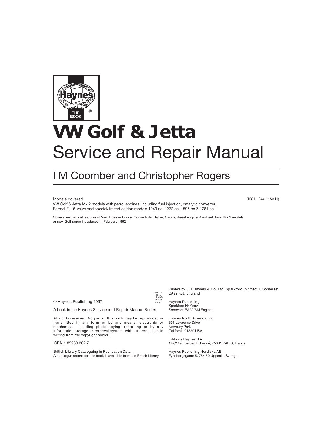 Volkswagen GOLF Service Manual - Free PDF Download (310 Pages)