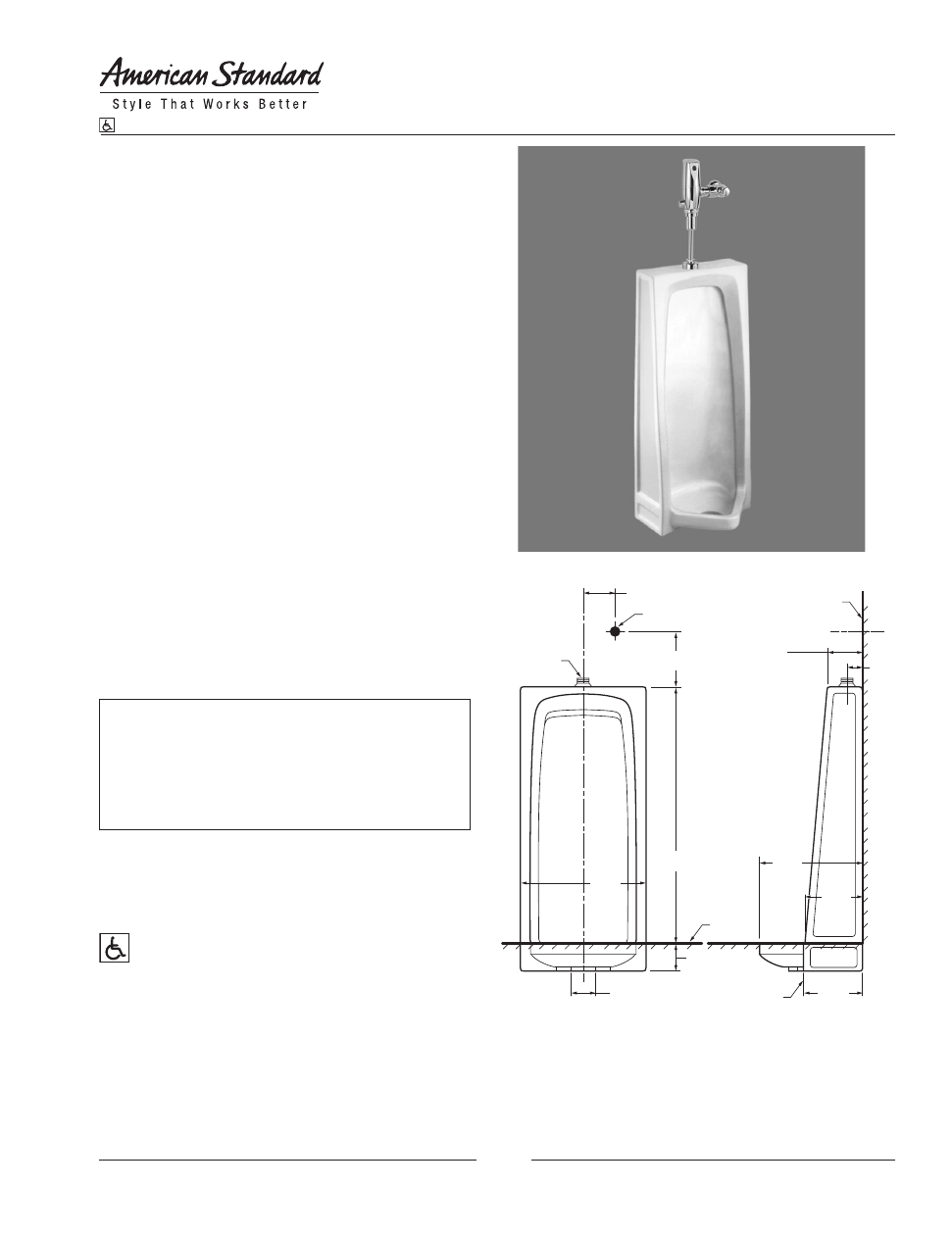 American Standard Stallbrook Urinal 6400 014 User S Manual