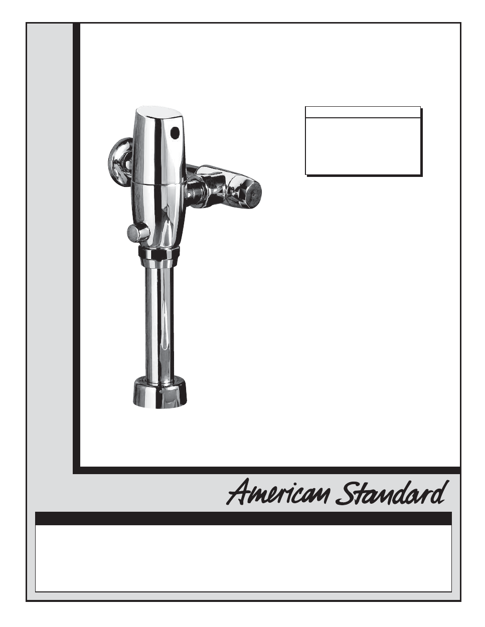 American Standard Selectronic 6065 122 User S Manual