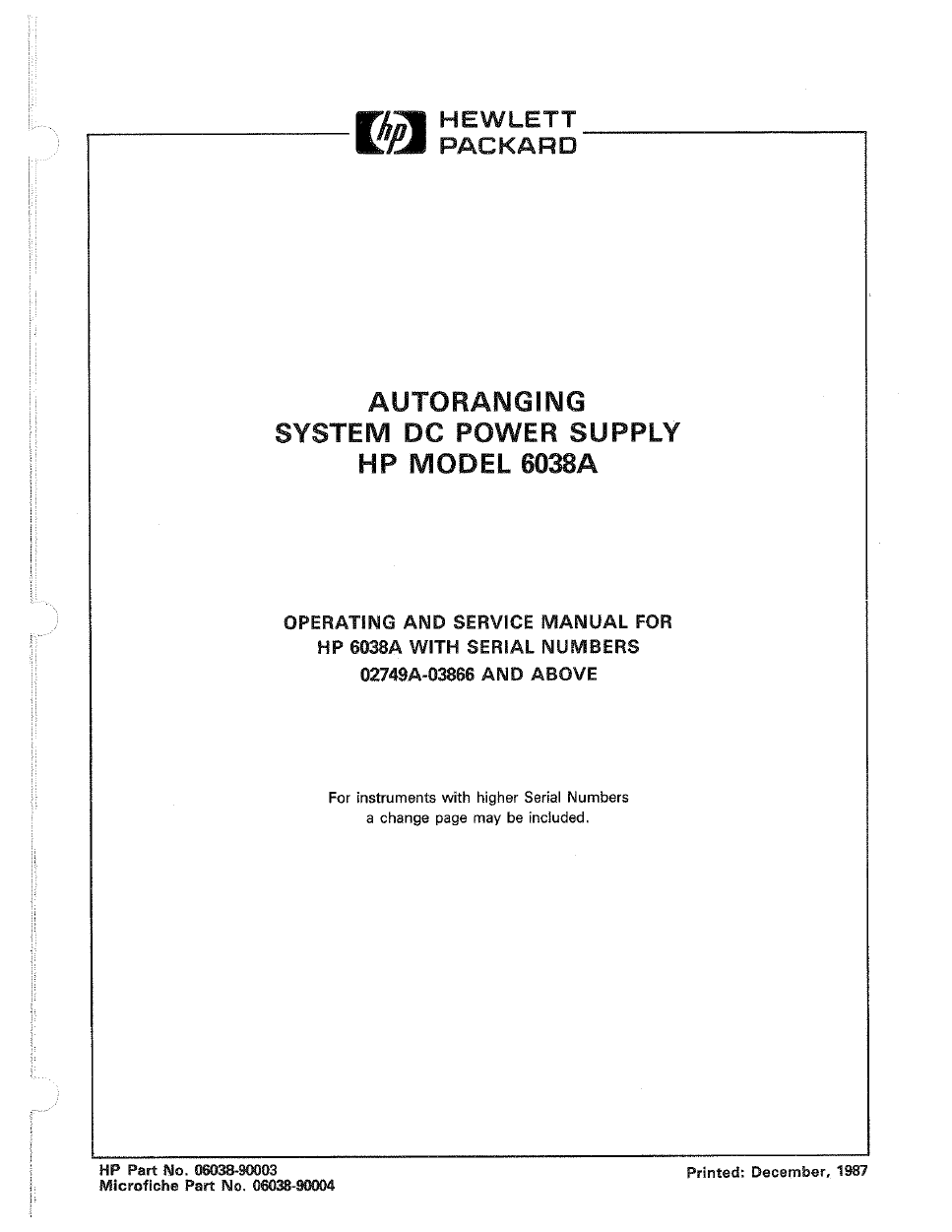 HP Power Supply 6038A User's Manual - Free PDF Download (44