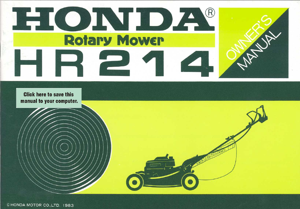 honda hr214 user s manual free pdf download 48 pages rh manualagent com honda mower service manual pdf honda mower service manual