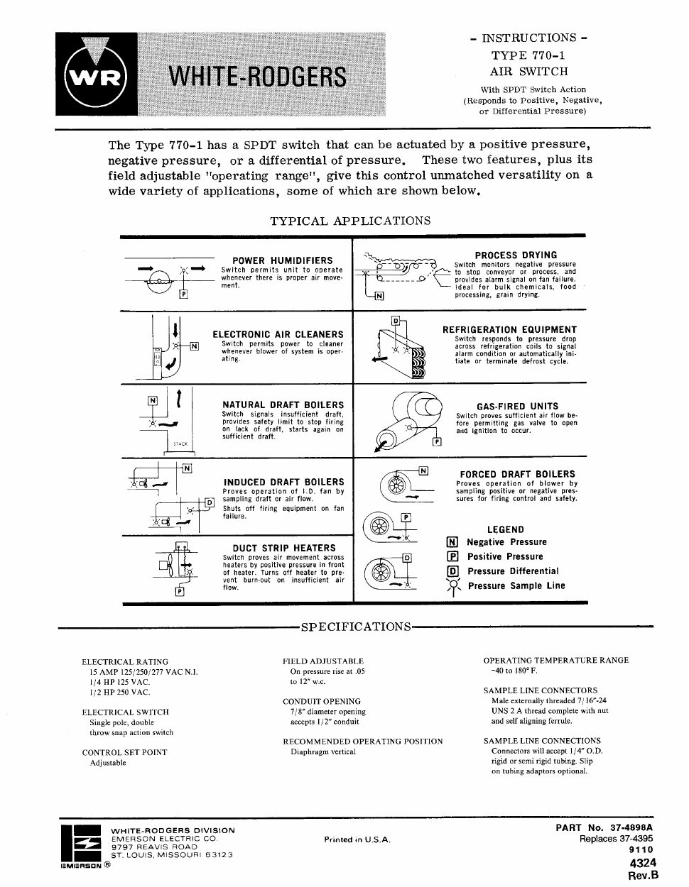 White Rodgers 770 1 Dual Purpose Air Switch Installation Wiring Schematic Background Image