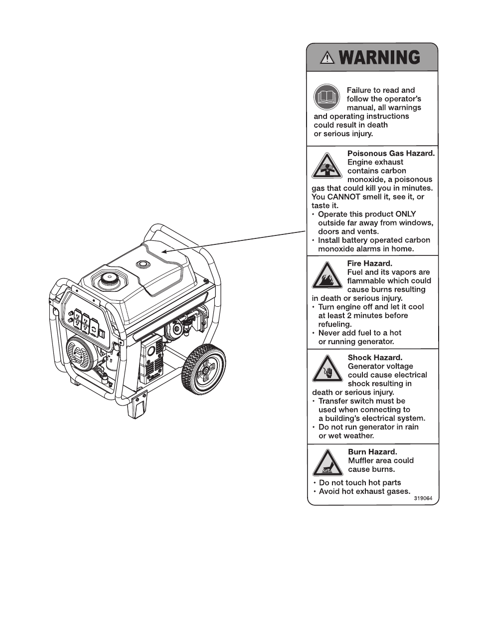 troy bilt 6250 watt portable generator user s manual page 6 free Gen Transfer Switch Wiring Diagrams background image