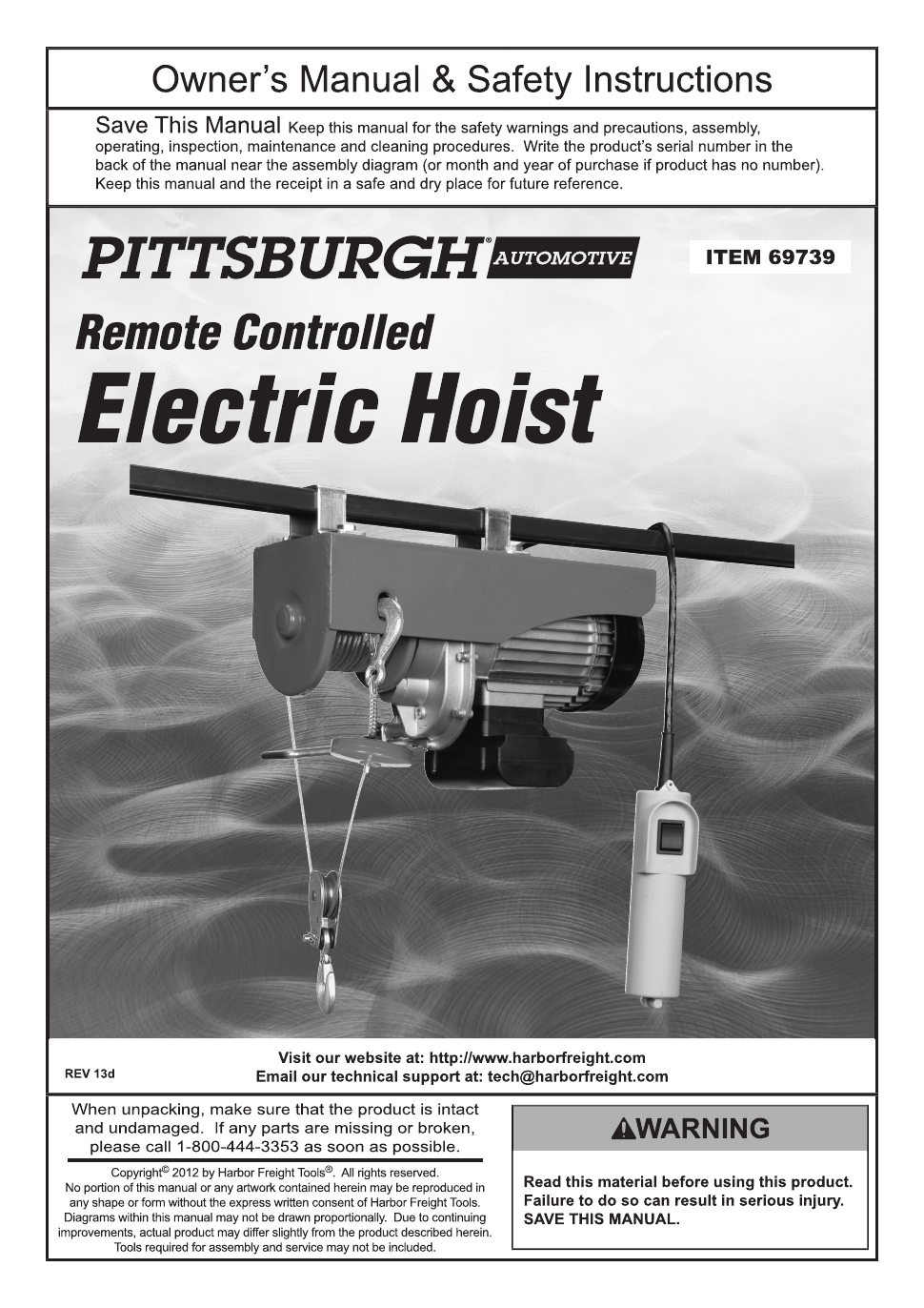 Pittsburgh Electric Hoist Wiring Diagram