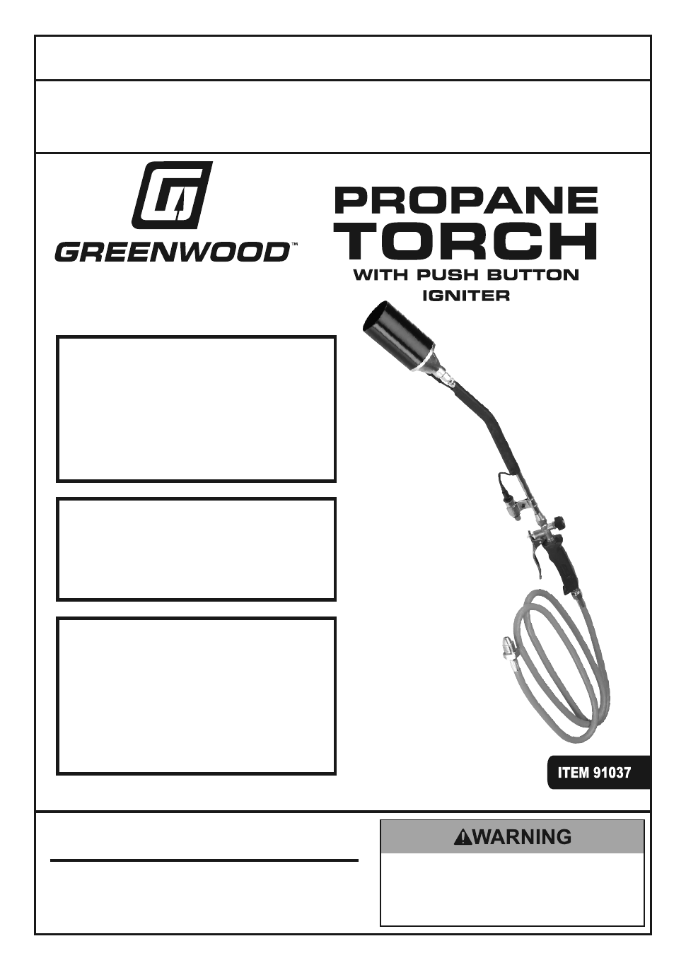 Harbor Freight Tools Propane Torch With Push Button