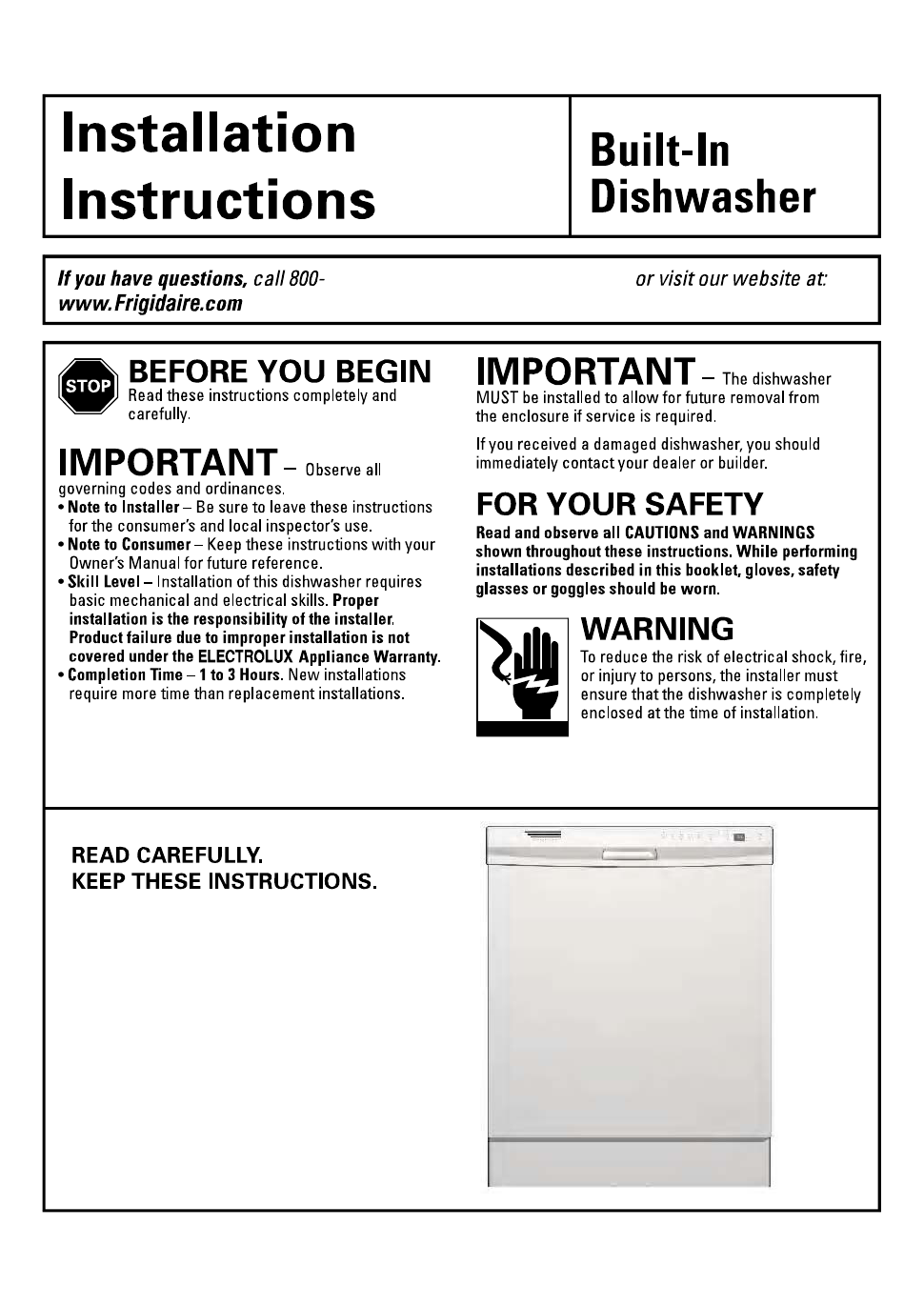 Frigidaire Fdb2410his Installation Instructions Free Pdf Download
