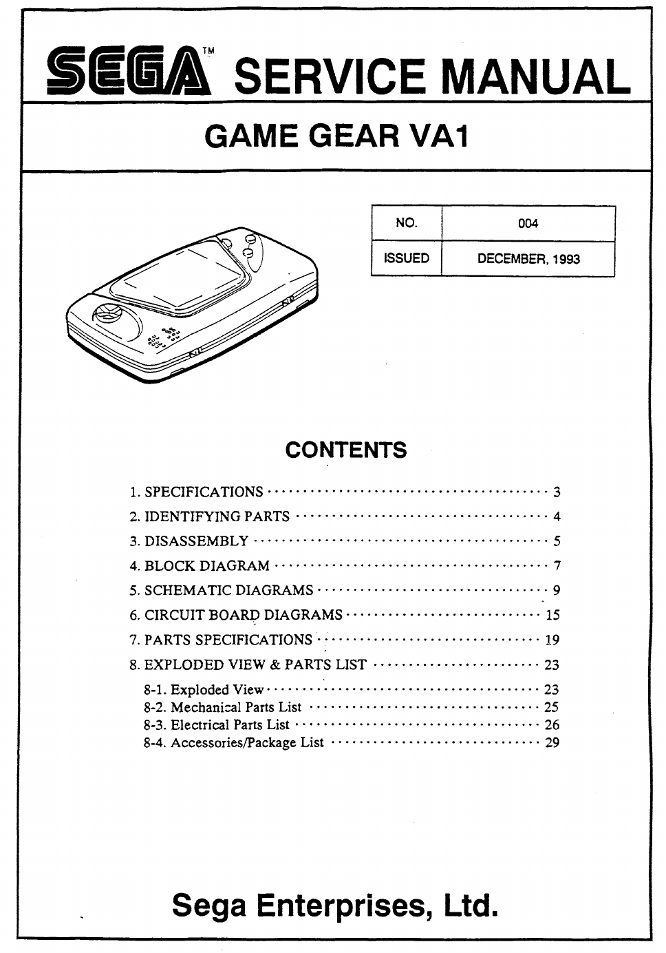 Sega Game Gear Va1 Service Manual Free Pdf Download 24 Pages Playstation 4 Block Diagram Background Image